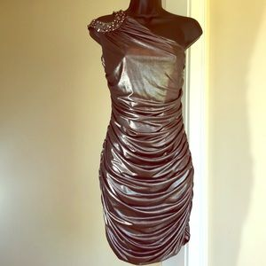 BEBE size M steel gray shiny sexy cocktail